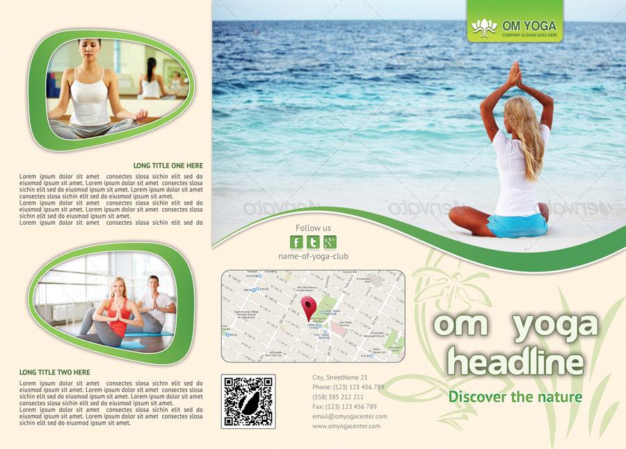 Yoga Trifold Brochure Template For Yoga Studio